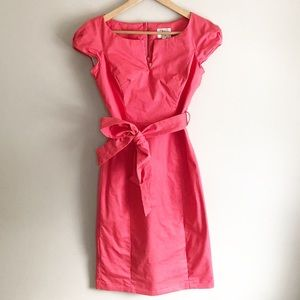 Milly Cap Sleeve Belted Sheath Dress Jacquard Pink